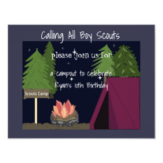 Camping Boy Scouts Birthday Party Invitation