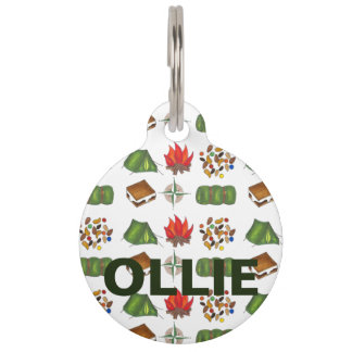 Camping Camp Hiking Fire Smores Tent Dog Pet Tag