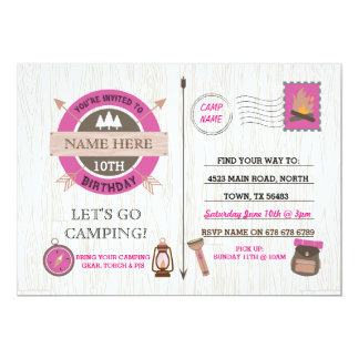 CAMPING Camp Out BIRTHDAY PARTY pink girls invite