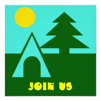 "Camping Camp Tent Pine Sun Turq Party Invitations 5.25"" Square Invitation Card"