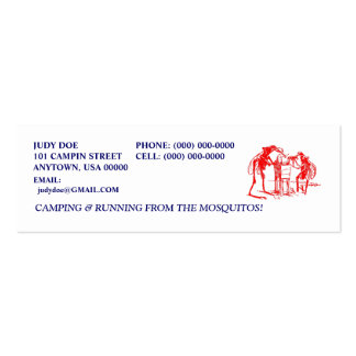 CAMPING CAMPER CAMP RED MOSQUITO CONTACT CARDS PACK OF SKINNY BUSINESS CARDS