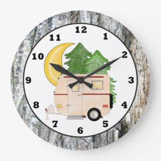 Camping Camper cartoon wall clock