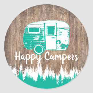 Camping Fun Happy Camper Rustic Forest Classic Round Sticker