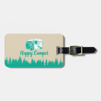 Camping Fun Happy Camper Rustic Forest Luggage Tag