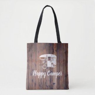 Camping Fun Happy Camper Rustic Wood Tote Bag