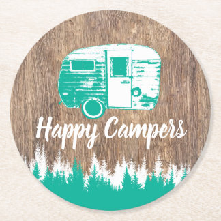 Camping Fun Happy Campers Rustic Forest Round Paper Coaster