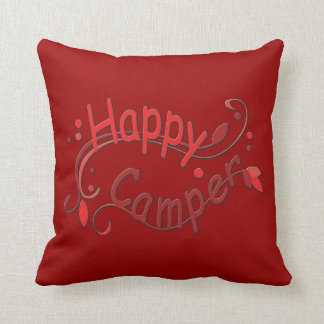 Camping Happy Camper RV Decor Red Pillow