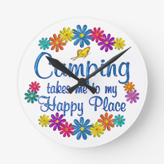 Camping Happy Place Wallclocks