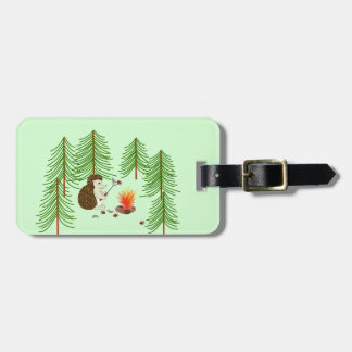 Camping Hedgehog Luggage Tag