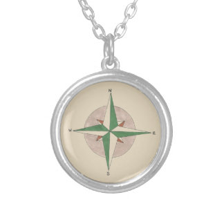 Camping Hiking Outdoor Summer Camp Compass Nature Silver Plated Necklace