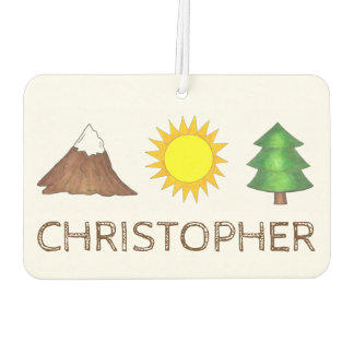 Camping Hiking Sun Mountain Tree Personalized Gift Car Air Freshener