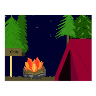 Camping in a Tent Postcard