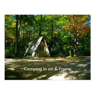 Camping in an A-Frame Cabin Postcard