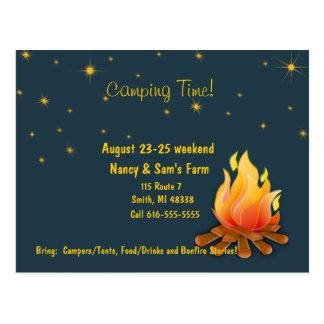 Camping invite postcard