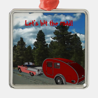 Camping Is My Life Silver-Colored Square Decoration