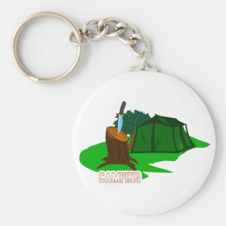 Camping knife and tent basic round button key ring