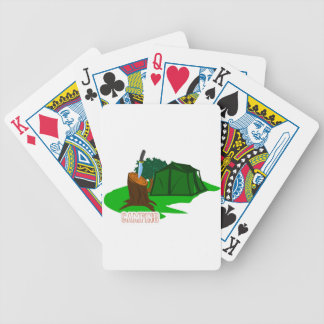 Camping knife and tent bicycle playing cards
