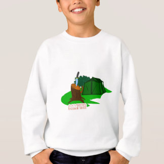 Camping knife and tent sweatshirt
