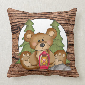 Camping lantern Bear fun throw pillow