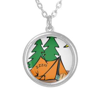 Camping Outside Silver Plated Necklace