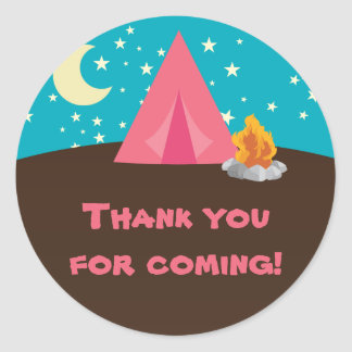 Camping Party Stickers Round Sticker