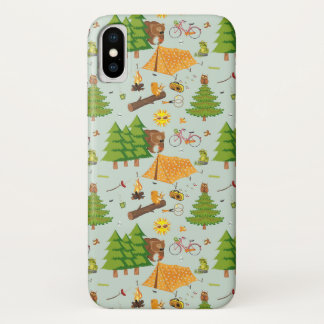 Camping Pattern iPhone X Case