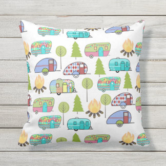 Camping Pattern Outdoor Pillows