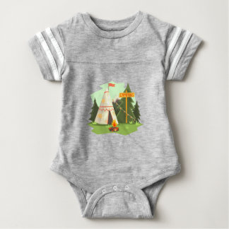 Camping Place With Bonfire, Wigwam And Forest Baby Bodysuit