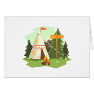 Camping Place With Bonfire, Wigwam And Forest Card