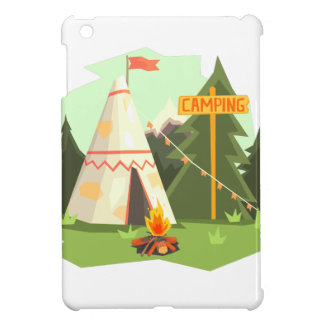 Camping Place With Bonfire, Wigwam And Forest Case For The iPad Mini