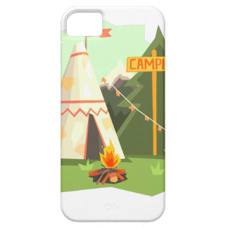 Camping Place With Bonfire, Wigwam And Forest Case For The iPhone 5