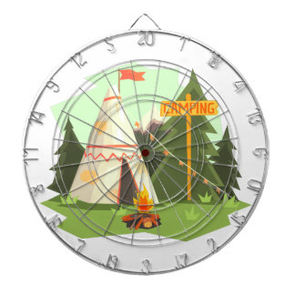 Camping Place With Bonfire, Wigwam And Forest Dartboard