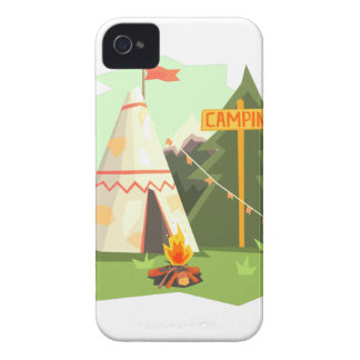 Camping Place With Bonfire, Wigwam And Forest iPhone 4 Covers