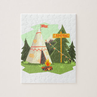 Camping Place With Bonfire, Wigwam And Forest Jigsaw Puzzle