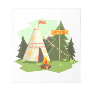 Camping Place With Bonfire, Wigwam And Forest Notepad