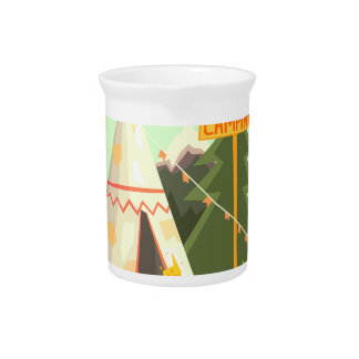 Camping Place With Bonfire, Wigwam And Forest Pitcher