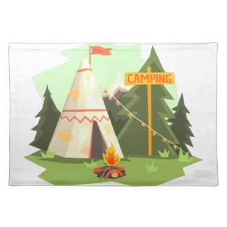 Camping Place With Bonfire, Wigwam And Forest Placemat