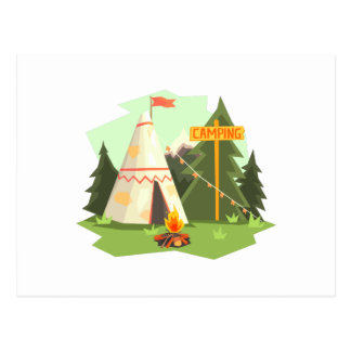 Camping Place With Bonfire, Wigwam And Forest Postcard