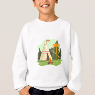 Camping Place With Bonfire, Wigwam And Forest Sweatshirt