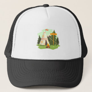 Camping Place With Bonfire, Wigwam And Forest Trucker Hat