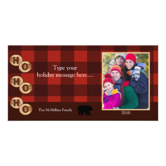 CAMPING Rustic Bear Woods Holiday Photo Card 8x4