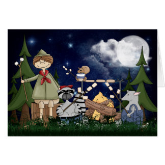 Camping Scout Boy with Raccoon and Opossum Note Card