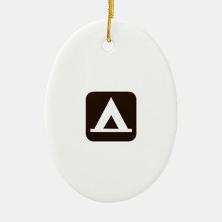 Camping Sign Symbol Ceramic Oval Decoration