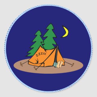 Camping - sleeping in a tent classic round sticker