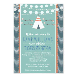 Camping Sleepover Boy Birthday Invitation