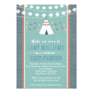 Camping Sleepover Boy Birthday Invitation