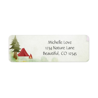 Camping Tent Campfire Wilderness Woodland Address Return Address Label