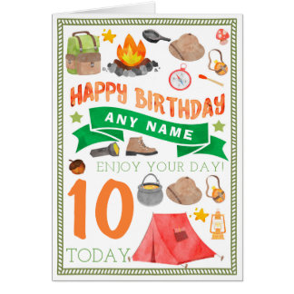 Camping Tent Personalised Birthday Card