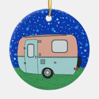 Camping Trailer Round Ceramic Decoration