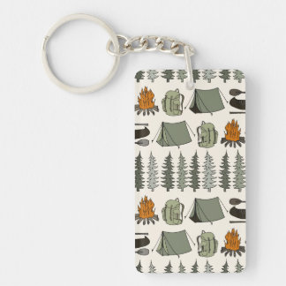 Camping Woodland Bear Fox Forest / Andrea Lauren Double-Sided Rectangular Acrylic Key Ring